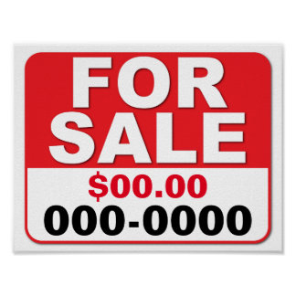FOR SALE SIGN Customize your price & number Poster