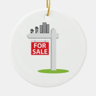 For Sale Sign Double-Sided Ceramic Round Christmas Ornament