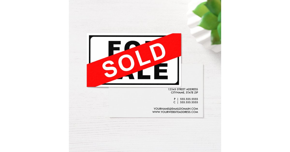 For Sale Sold Sign: FOR SALE / SOLD Sign Business Card