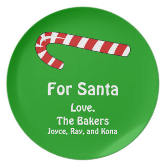 For Santa Candy Cane Christmas Add Your Name Melamine Plate