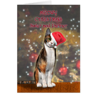 For Sister and Partner, a cat in a Christmas hat Card