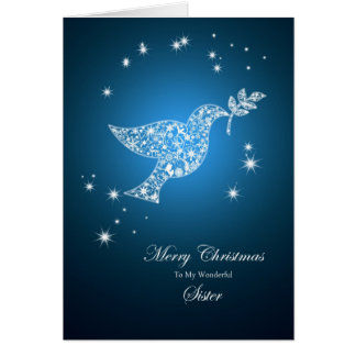 For Sister, Dove of peace Christmas card