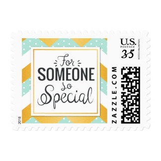 For someone so special with colorful minty chevron postage