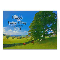 For Son, a Pastoral landscape Father's Day Card