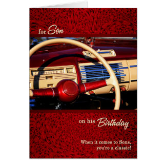for Son Birthday - Red Classic Car Theme Card