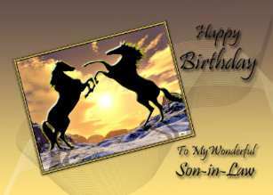 For Son In Law Birthday Card With Rearing Horses