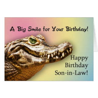 For Son-in-law card with a smiling alligator