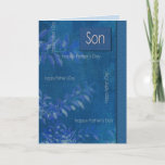 For Son on Father's Day. Elegant Blue Leaf Pattern Card