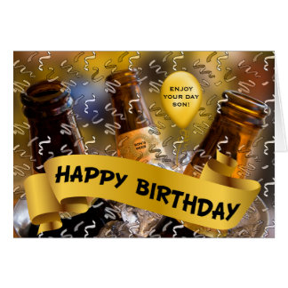 for Son's Birthday - Bucket of Beer Custom Card