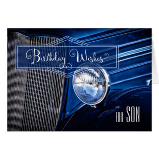 for Son's Birthday - Classic Vintage Auto in Blue Card
