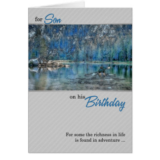 for Son's Birthday Outdoors Kayak on the Lake Card