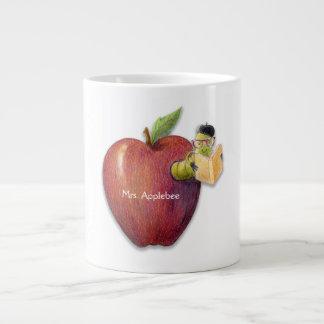 For Teacher Apple with Bookworm  Customizable Name Giant Coffee Mug