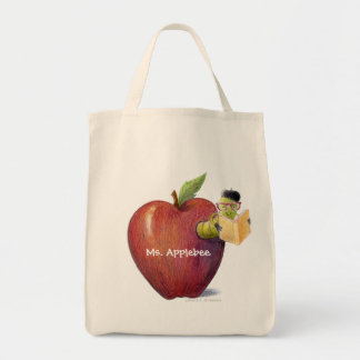 For Teacher Worm in Apple Customizable Name Grocery Tote Bag