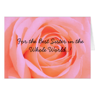 For the Best Sister on Mohter's Day, Pink Rose 3 Card