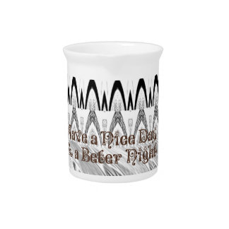 For the Bride White and Black Edgy design Beverage Pitcher
