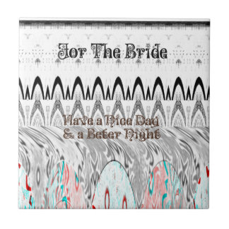 For the Bride White and Black Edgy design Small Square Tile