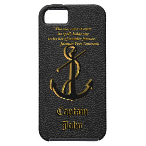 For the captain, Iphone 5 case black leather look