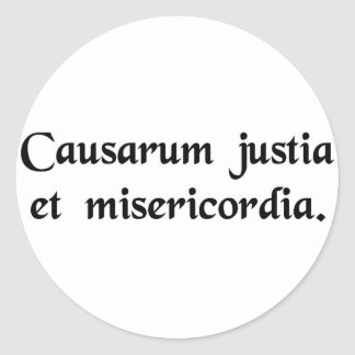 For the causes of justice and mercy classic round sticker