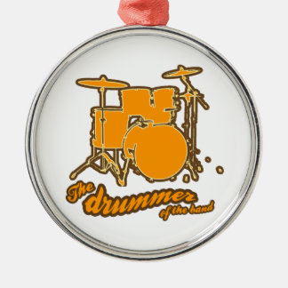 For the drummer round metal christmas ornament