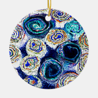 For the Fiber Artist Felted Slices So Colorful Ceramic Ornament