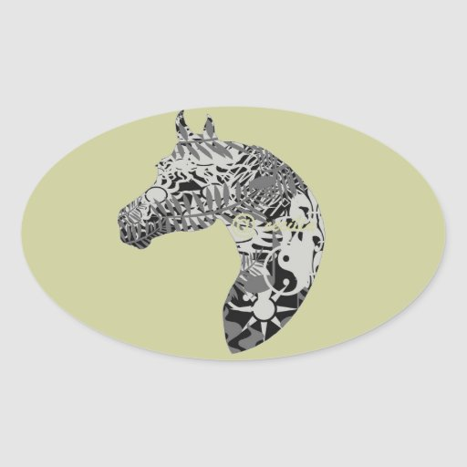 For the Horse Lover , Horse Collection Oval Stickers