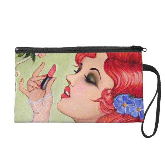 For the Love of Lipstick Original Art Wristlet
