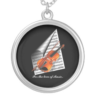 For the love of Music Round Pendant Necklace