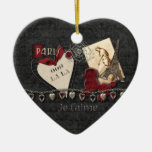 For The Love Of Paris Double-Sided Heart Ceramic Christmas Ornament