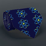 """For The Love Of Science Atom Tie<br><div class=""""desc"""">This atom science design features a blue and green atom in bold colors! This geeky atom art is the perfect gift to buy for a scientist,  chemist,  physicist,  proud geek or anyone who has an interest in physics or chemistry!</div>"""