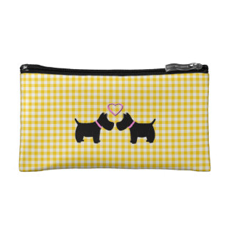 For the love of Scottish Terrier Yellow Gingham Cosmetic Bag