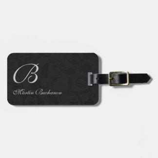 for the Traveler - Black Damask Monogrammed Travel Bag Tags