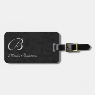 for the Traveler - Black Damask Monogrammed Luggage Tag