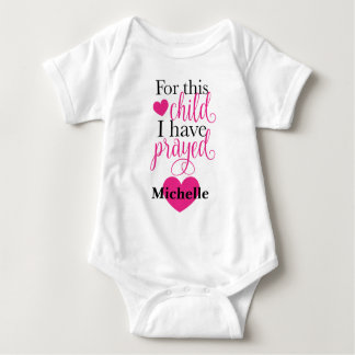 For This Child I Have Prayed Personalized Bodysuit