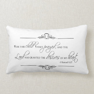 For This Child I Have Prayed Pillow for Nursery