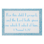 For this child I prayed baby boy poster
