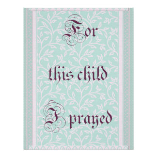 For this child I prayed- green gray Letterhead
