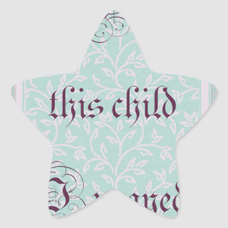 For this child I prayed- green gray Star Sticker