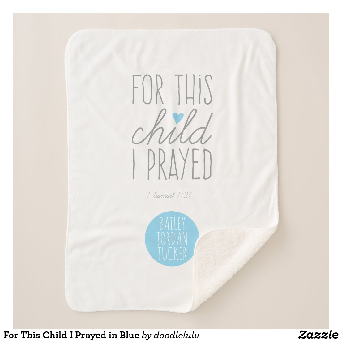 For This Child I Prayed in Blue Sherpa Blanket