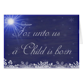 For Unto Us a Child Is Born Christmas Personalized Card