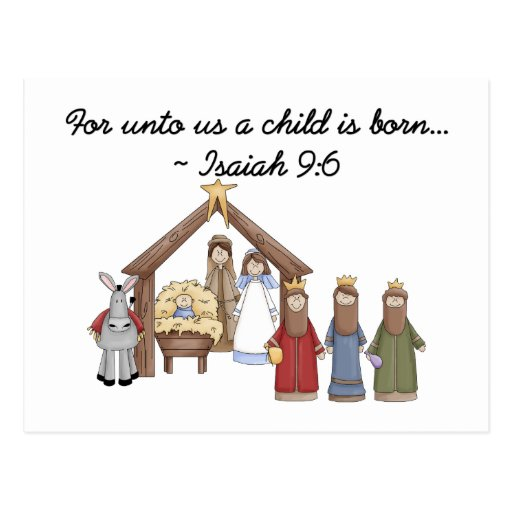 For unto us a child is born postcard