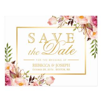 (for USPS) Elegant Pink Floral Gold Save the Date Postcard