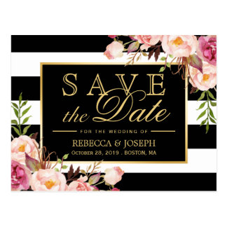 (for USPS) Gold Floral Black Stripes Save the Date Postcard