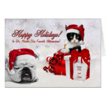 for Veterinarian at Christmas Cat and Dog Greeting Card