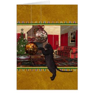 For Veterinarian Christmas Black Cat Card