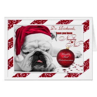 for Veterinarian Christmas Bulldog Santa Card