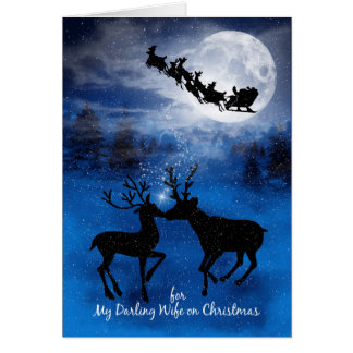 for Wife Kissing Reindeer Winter Christmas Card