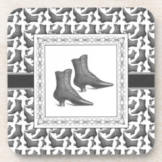 For Women Who Love Shoes, Vintage Boots Drink Coaster