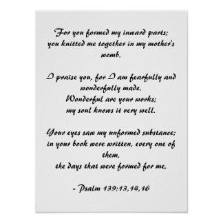 For you formed my inward parts Psalms 139 Posters