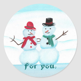 For you, Snow People, Christmas gift stickers