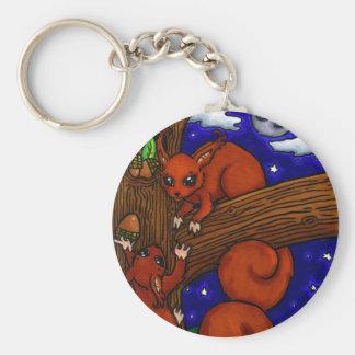 Foraging Red squirrels Keychains